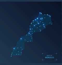 Morocco map with cities luminous dots - neon vector