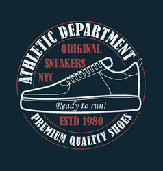 new york sneakers - grunge print for t-shirt vector image