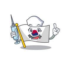 Nurse korean flag in cartoon shape vector