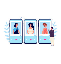 online dating single man looking couple on phone vector image
