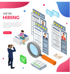 Online isometric employment and hiring concept vector