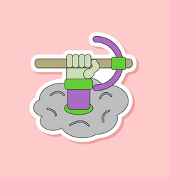 Paper sticker on stylish background hammer in hand vector