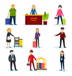 people in hotel set vector image
