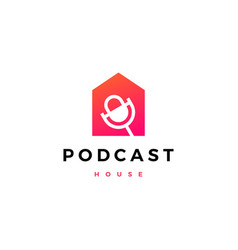 podcast house logo icon vector image