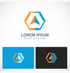 polygon arrow navigation compass logo vector image