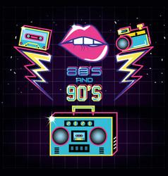 Radio with icons of eighties and nineties retro vector