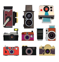 retro photo cameras in cartoon vector image