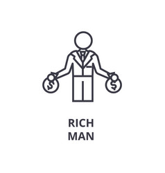 rich man line icon outline sign linear symbol vector image