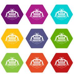 robot icons set 9 vector image