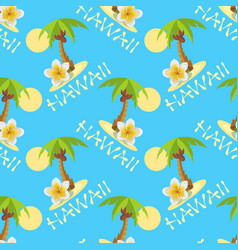 Seamless background with palmtrees plumeria vector