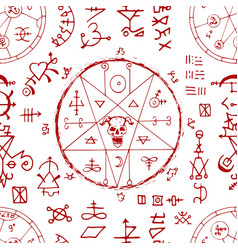 Seamless pattern with devil and alchemy signs mag vector