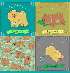 set of cartoon dogs chow-chow vector image