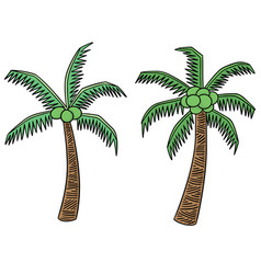 set of coconut tree vector image