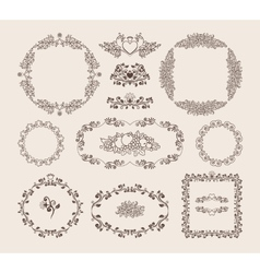 Set of ornamental frames and badges vector