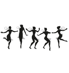 Silhouettes five flapper girls wearing vintage vector