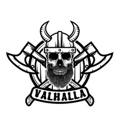 skull in horned viking helmet design element vector image