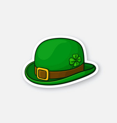 Sticker green bowler hat with buckle and clover vector