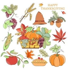 Thanksgiving holiday set vector image