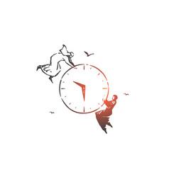Time management teamwork concept sketch hand vector