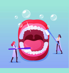 tiny dentist doctor characters care huge teeth vector image