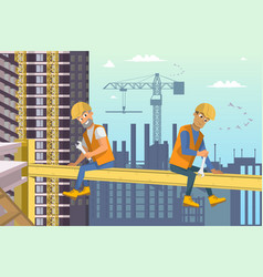 Two builders sit on beam above house construction vector