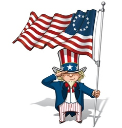 Uncle sam saluting the betsy ross flag vector