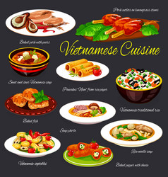 Vietnamese cuisine restaurant dishes set vector