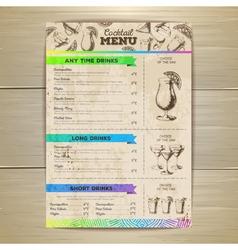Vintage cocktail menu design Document template vector image