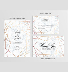 wedding set cards template of geometric design vector image