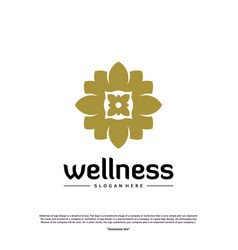 wellness logo design concept nature leaf logo vector image