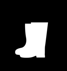 white silhouette of gardener high rubber boots vector image