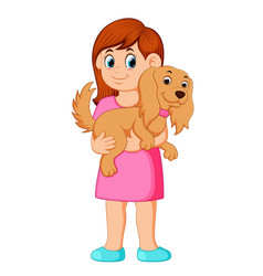 Woman holding small dog vector