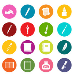 writing icons many colors set vector image