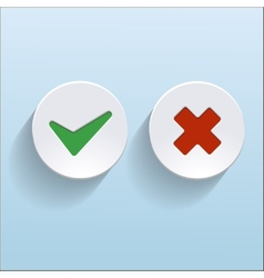 yes and no check marks on circles vector image