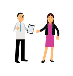 Young businesswoman and bank consultant standing vector