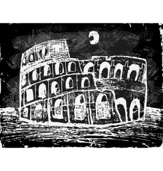 Coliseum at night vector image