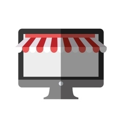 computer shopping online color shadow vector image