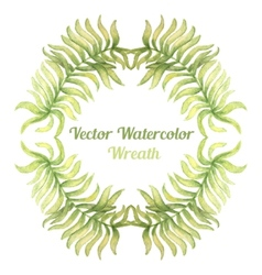 Watercolor wreath with palm tree branches vector image