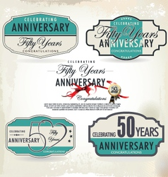 50 years anniversary retro labels vector image