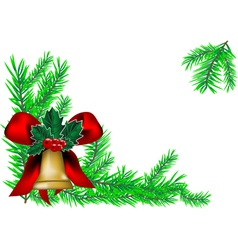 christmas bell and new year tree vector image vector image