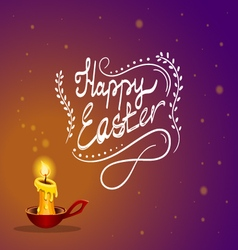 Happy Easter card with burning candle vector image vector image