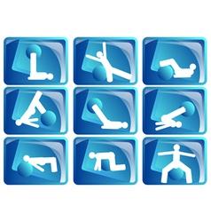 pilates icon set vector image
