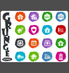 real estate icons set in grunge style vector image