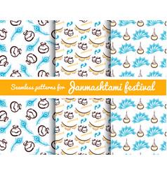 seamless patterns janmashtami festival vector image vector image