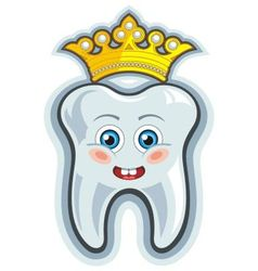 Smiling cartoon tooth with crown vector image vector image