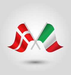 Two crossed danish and italian flags on sil vector