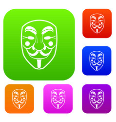 vendetta mask set color collection vector image