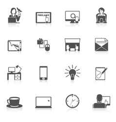 Freelance Icon Black Set vector image vector image