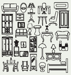 interior icons flat doodle furniture and interior vector image vector image