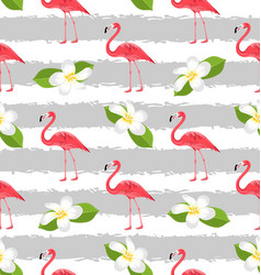 seamless pattern with plumeria flowers and pink vector image vector image